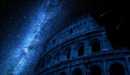 Photo for Milky way over Colosseum in Rome, Italy - Royalty Free Image