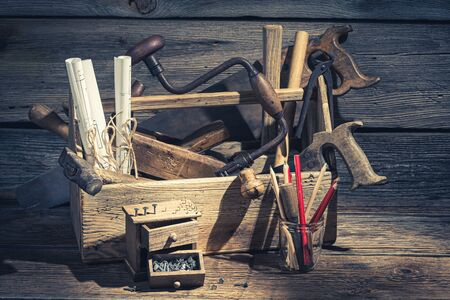 Photo for Closeup of carpenter working tools in a workshop - Royalty Free Image