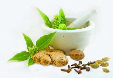 Photo for Image of Ayurvedic Medicine preparation using herbs from kitchen - Royalty Free Image