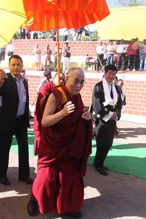 His Holliness the Dalai Lama arrived at  Center from School of Tibetan  CST  at Dalhousie on the occasion of golden jubilee celebration of