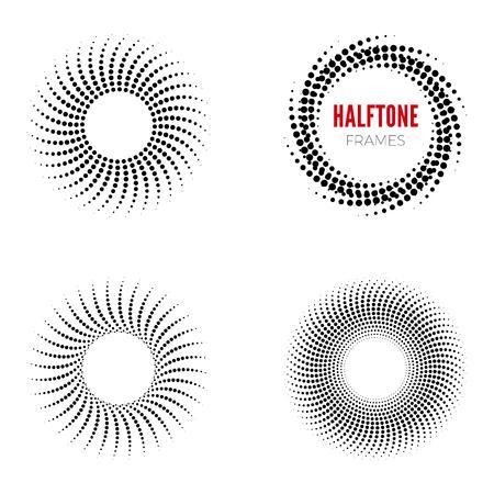 Illustration pour Set of round halftone frames. Abstract vector design elements - image libre de droit