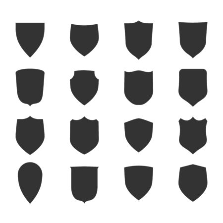 Illustration for Shield shape icons set. Black label signs. Symbol of protection, - Royalty Free Image