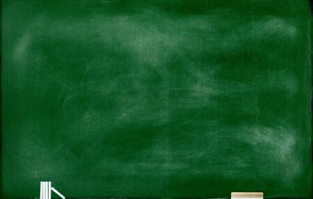 Textured green chalk board with Chalks and Eraser background