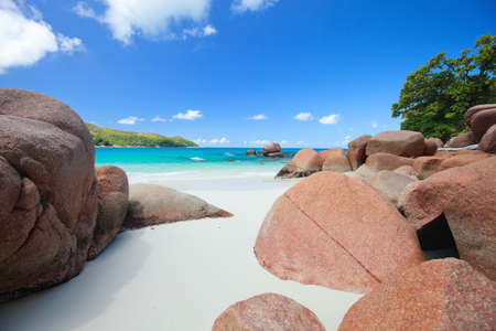 Secluded tropical white sand beach in Seychelles