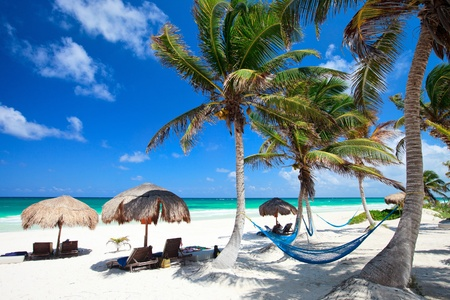 Perfect Caribbean beach in Tulum Mexico