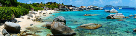 Panorama of a picture perfect beach with white sand turquoise ocean water and blue sky at B