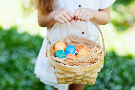 Close up of colorful Easter eggs in a basket