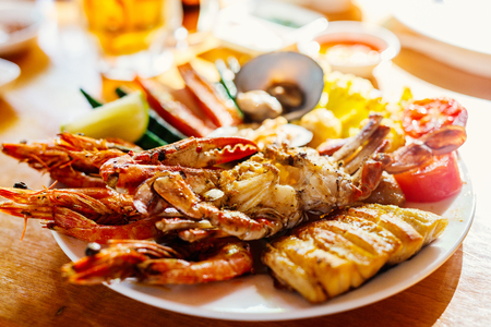 Photo for Close up of delicious grilled vegetables and seafood - Royalty Free Image