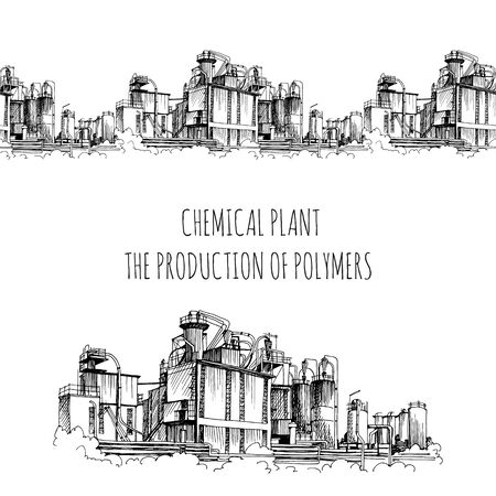 Photo pour Chemical plant, the production of polymers, hand-drawn sketch vector seamless border - image libre de droit