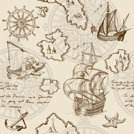Illustration for Old caravel, vintage sailboat, sea monster. Monochrome Hand drawn sketch. Vector seamless pattern for boy. Detail of the old geographical maps of sea. - Royalty Free Image