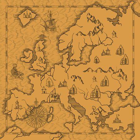 Illustration pour Old caravelle, vintage sailboat, sea monster. Detail of fantasy geographical maps - image libre de droit