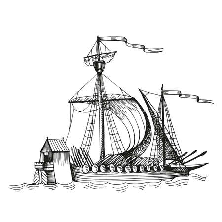 Illustration pour Old caravel, vintage sailboat. Hand drawn sketch vector. Detail of the old geographical maps of sea - image libre de droit