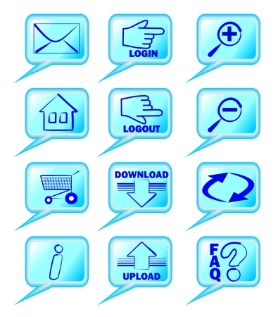 A set of internet bubble shaped icons in blue design