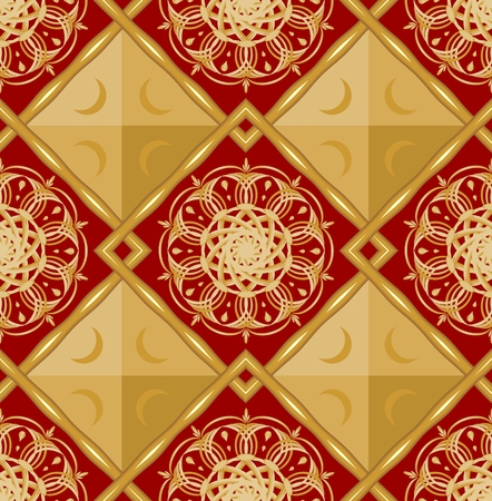 Luxury seamless background with gold geometric patterns on the red area