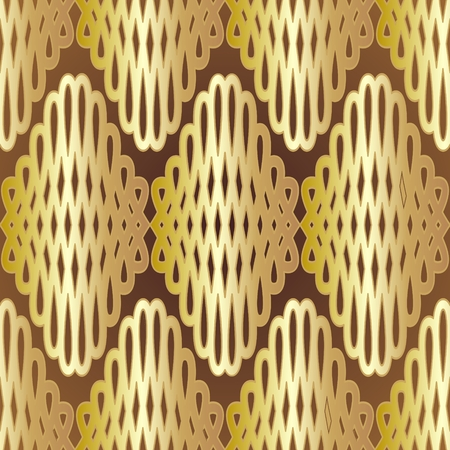 Seamless vintage gold mesh ornament on the brown background