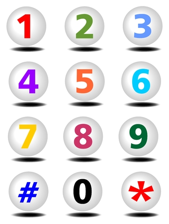 Phone buttons set with colored numbers and shadows