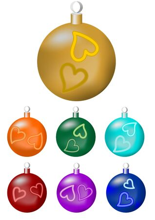 A set of christmas balls in seven color variants - gold, orange, green, blue, turquoise, purple, red
