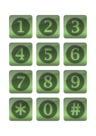 Phone buttons in green gradient design in circles