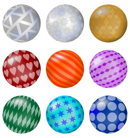 A set of colorful glossy balls with patterns