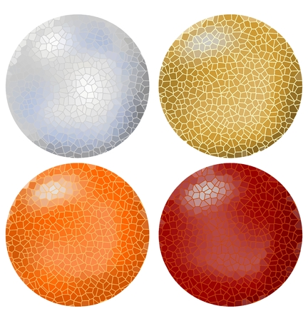Set of sphere objects designed in mosaic surface