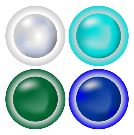 A set of circle metallic buttons in cool colors - silver, turquoise, green, blue