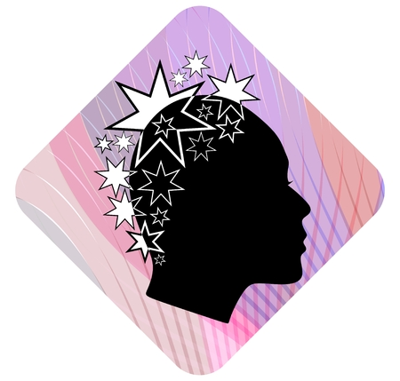 Woman head profile with extravagant star patterned hairstyle on pink wavy background. Black and white stylization. Female face profile silhouette. Emblem for boutique or fashion salon. EPS 10 vector.