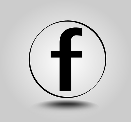 Illustration pour Letter F, round icon on light gray gradient background. Social media icon. - image libre de droit