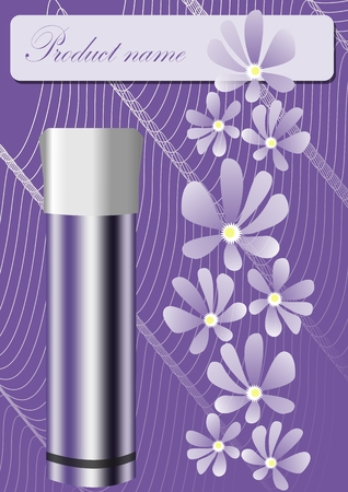 Illustration pour Cosmetics product sheet in trendy purple design, metallic container with white cap, tender lila flowers, wavy curves on violet background, place for product or brand name - image libre de droit