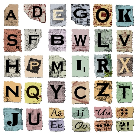 vintage alphabet and punctuation