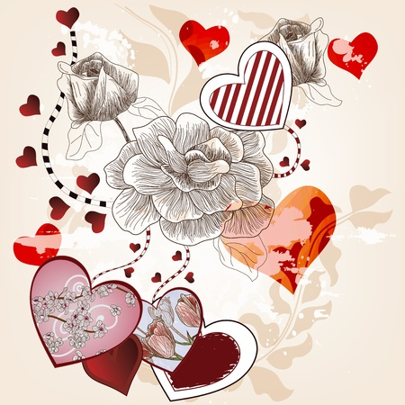 Valentine background with hand drawn roses and artistic hearts