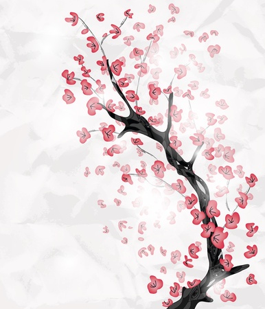cherry blossom branch painted in an oriental style with space for text