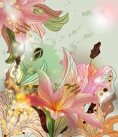 Foto de shining lilies background - Imagen libre de derechos