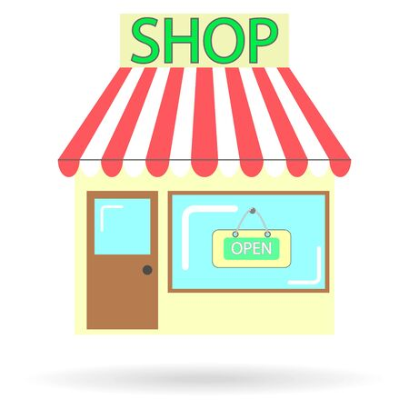 Illustration for flat icon store with a sign on the window open isolated - Royalty Free Image