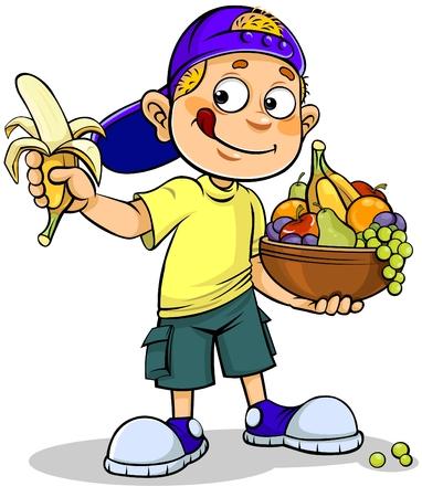 Illustration pour Boy and Fruits - image libre de droit