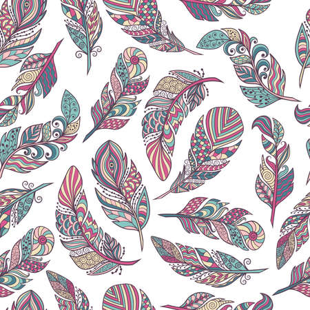 Illustration pour Seamless pattern, vector set of beautiful abstract feathers in ethnic style on a white background, zenart, limited palette, for design and decoration - image libre de droit
