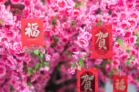 Photo for Chinese New Year decorations, The text in the picture is Fu the meaning is blessings and He the meaning is congratulations. - Royalty Free Image