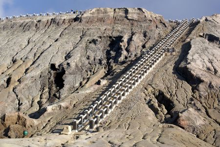 Staircase on the vulcano Bromo. Java, Indonesia