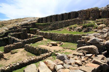 Inca stone ruins on the island Isla del Sol, Bolivia