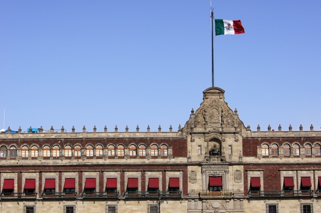 Mexican flag on the roof of President palace in Mexico