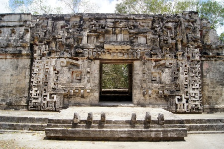 Old stone temple and door in Chicanna, Mexico