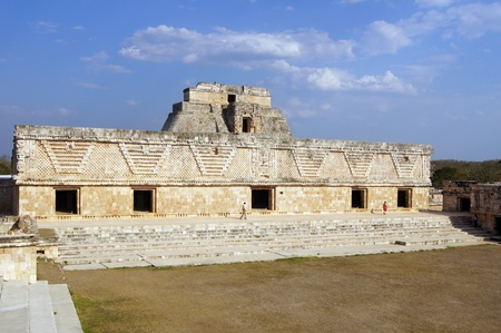 Temple square and pyramid in Uxmal Mexico