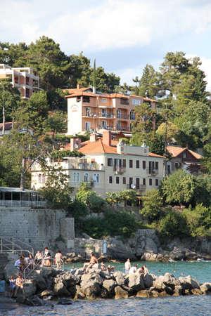 Buildings on the sea coast ni Volosko, Croatia