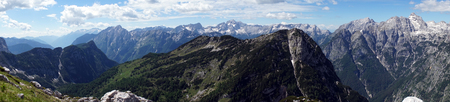 Panorama of mountain in Slovenian Alps