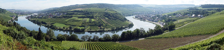 Panoramic view of Mosell valley on the border Luxembourg and Germany