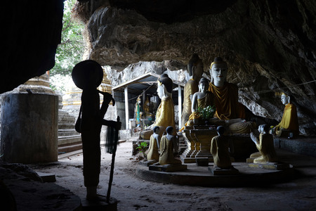 MAWLAMYINE, MYANMAR - CIRCA APRIL 2017 Buddha in Tha Maing Win Kha Yon Gu Hsan Daw Shin Hpa Yar