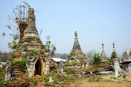 HSIPAW, MYANMAR - CIRCA APRIL 2017 Ruined stupas