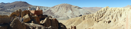 Hill and Khyunglung caves in the Garuda Valley, Tibet