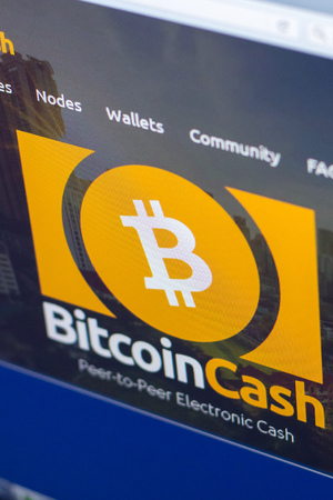 Ryazan, Russia - March 29, 2018 - Homepage of Bitcoin Cash cryptocurrency (BCH) - bitcoincash.org on a display of PC
