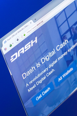Ryazan, Russia - March 29, 2018 - Homepage of Dash cryptocurrency on PC display, web adress - dash.org