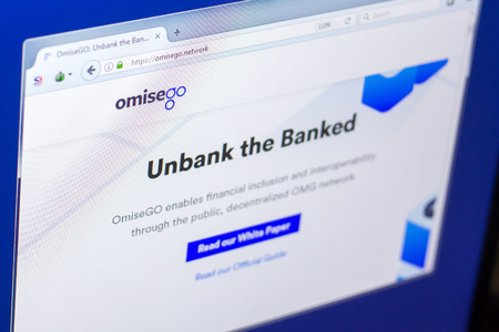 Ryazan, Russia - March 29, 2018 - Homepage of OmiseGo cryptocurrency on PC display, web adress - omg.omise.co